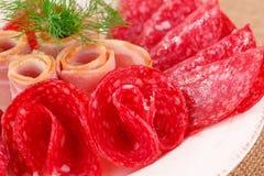 Salami and bacon Stock Photos