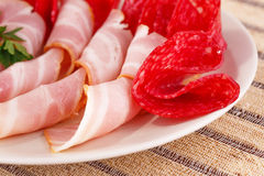 Salami and bacon Royalty Free Stock Image