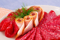 Salami and bacon Royalty Free Stock Photos