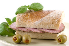 Salami Baguette Royalty Free Stock Photography