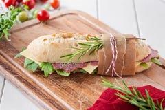 Salami baguette Stock Photo
