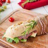 Salami baguette Royalty Free Stock Image