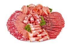 Salami baleronu więcej na talerzu i mięso Fotografia Stock