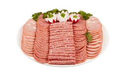 Salami baleronu więcej na talerzu odizolowywającym na białym plecy i mięso Fotografia Stock