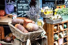 Salami in a basket. At Borough market, London, Uk Royalty Free Stock Photos