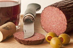 Salami of boar Stock Photos