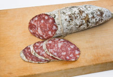 Salami on board Royalty Free Stock Photography