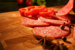 Salami both red pepper and spices 2 Royalty Free Stock Images