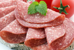 Salami Bread Royalty Free Stock Photos