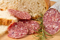 Salami with bread Royalty Free Stock Photos