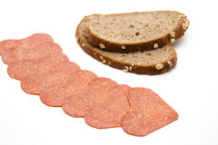 Salami with bread Stock Photo