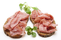 Salami on bread Stock Photography