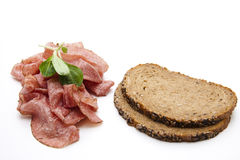 Salami and bread Stock Photography