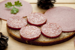 Salami on bread Royalty Free Stock Photography