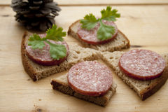 Salami on bread Royalty Free Stock Images