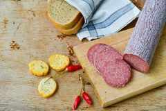 Salami and bread. Bread slices and Bruschetta with different kinds of Salami , peperoncino, fresh onion and spices as a rustic lunch royalty free stock image