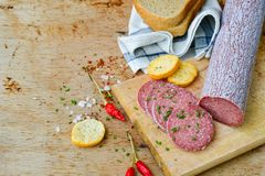 Salami and bread. Bread slices and Bruschetta with different kinds of Salami , peperoncino, fresh onion and spices as a rustic lunch royalty free stock images