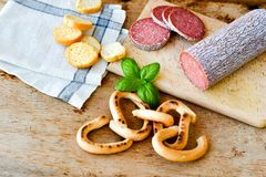 Salami and bread royalty free stock photos