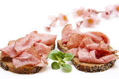 Salami on bread with corn salad Stock Photo