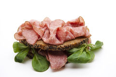 Salami on bread with corn salad Stock Photography