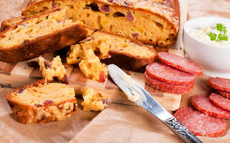 Salami bread Royalty Free Stock Images