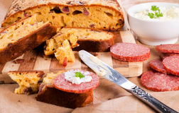 Salami bread Stock Images