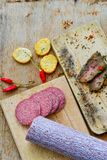 Salami and bread. Bread slices and Bruschetta with different kinds of Salami , peperoncino and spices as a rustic lunch stock image