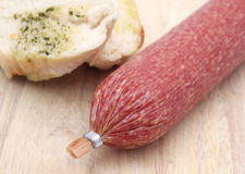 Salami with bread royalty free stock photo