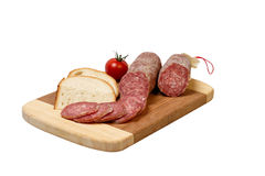 Salami, Bread and Tomato Royalty Free Stock Images
