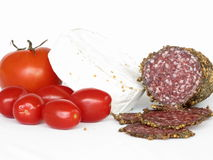 Salami, Camembert Cheese and Tomatoes stock photo