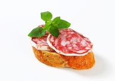 Salami canape. Crispy canape with French dry sausage stock images