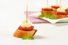 Salami canape Royalty Free Stock Image