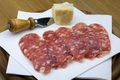 Salami and cheese Stock Photography