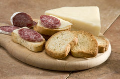 Salami and cheese Royalty Free Stock Photography