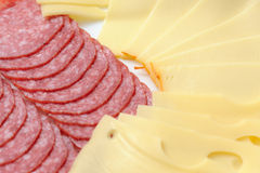 Salami and cheese Stock Images