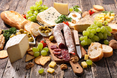 Salami,cheese and bread Royalty Free Stock Image