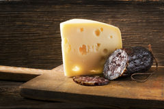 Salami and cheese Royalty Free Stock Photo