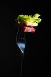 Salami, cheese and lettuce on a fork Stock Images