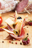 Salami, cheese and olive canape Royalty Free Stock Photography
