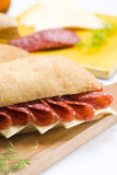 Salami and cheese sandwich Royalty Free Stock Photo