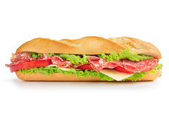Salami and cheese sandwich. Sandwich with salami, cheese, tomato and lettuce stock photos