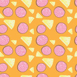 Salami and cheese seamless pattern. On an orange background Stock Photography