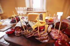 Salami and cheese Royalty Free Stock Image