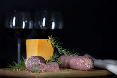 Salami Cheese Wine royalty free stock photo