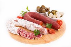 Salami and chorizo Stock Photos