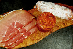 Salami, chorizo and dry cured ham Royalty Free Stock Photo