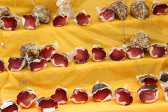 Salami and culatello vacuum packed for sale in Italian market Royalty Free Stock Photo