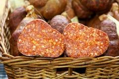 Salami cut in half Royalty Free Stock Image