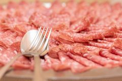 Salami cuttings royalty free stock photo