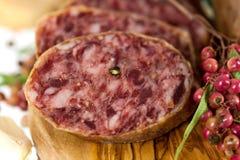 Salami da pimenta do gourmet com alho Imagem de Stock Royalty Free
